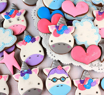 Unicorn decorated sugar cookies with cloud and heart cookies