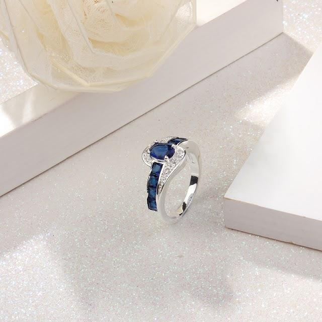 Blue Stone Zirconia Promise Engagement Rings For Women