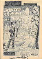 First page of the story about Iceman and Winter Carnival, with Bobby Drake admiring a snow sculpture of Angel, an X-Man