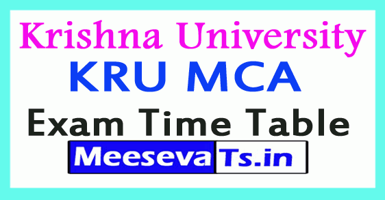 Krishna University KRU MCA Exam Time Table