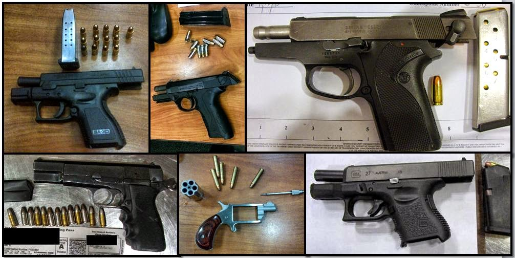 Clockwise from top left corner, firearms discovered at: ATL, ATL, IAH, MIA, ATL, LBB