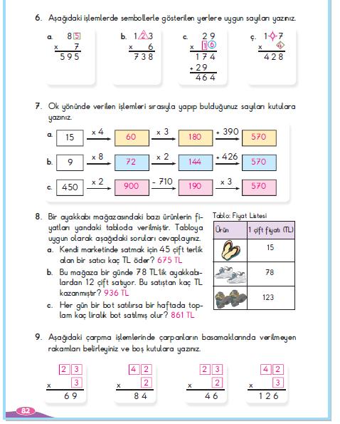 3. Sınıf Berkay Yayınları Matematik Çalışma Kitabı 82. Sayfa Cevapları Çarpma İşlemi Yapalım 2.Çalışma