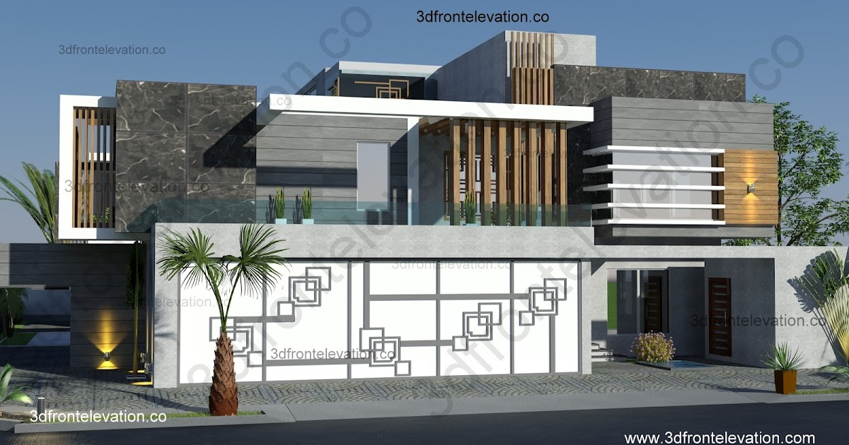 Front Elevation House Dubai : D front elevation contemporary villa house design