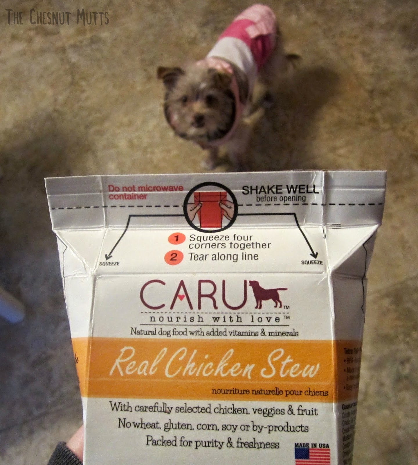 Caru nourish with love. Natural dog food with added vitamins & minerals. Real Chicken Stew. With carefully selected chicken, veggies & fruit. No wheat, gluten, corn, soy or by-products. Packed for purity & freshness. Made in USA