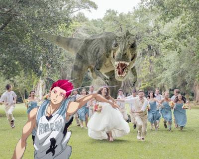 Meme Akashi Seijuro dikejar T-Rex
