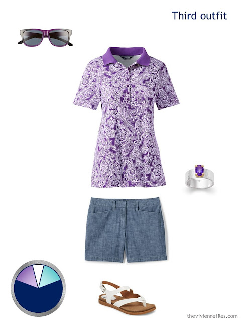 vacation or summer outfit in lavender and chambray, with accessories