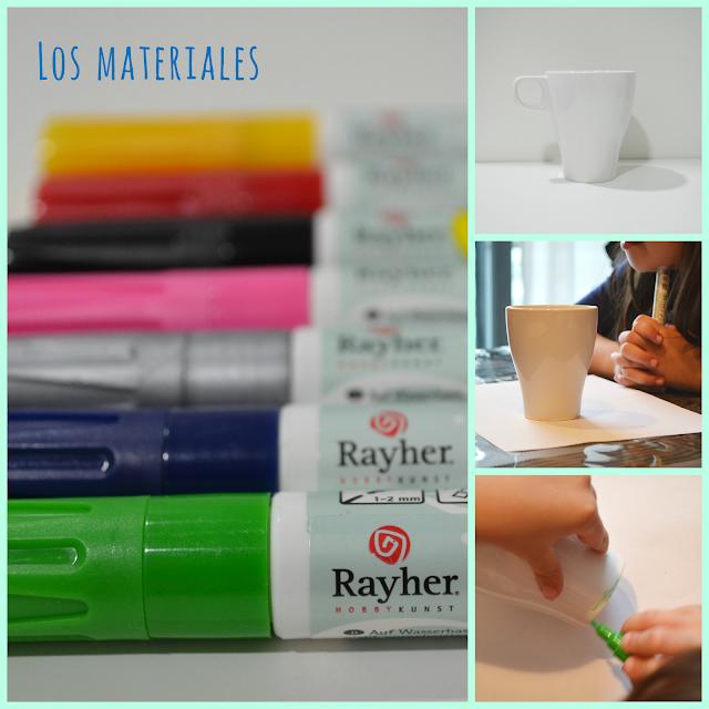 Materiales para pintar tazas
