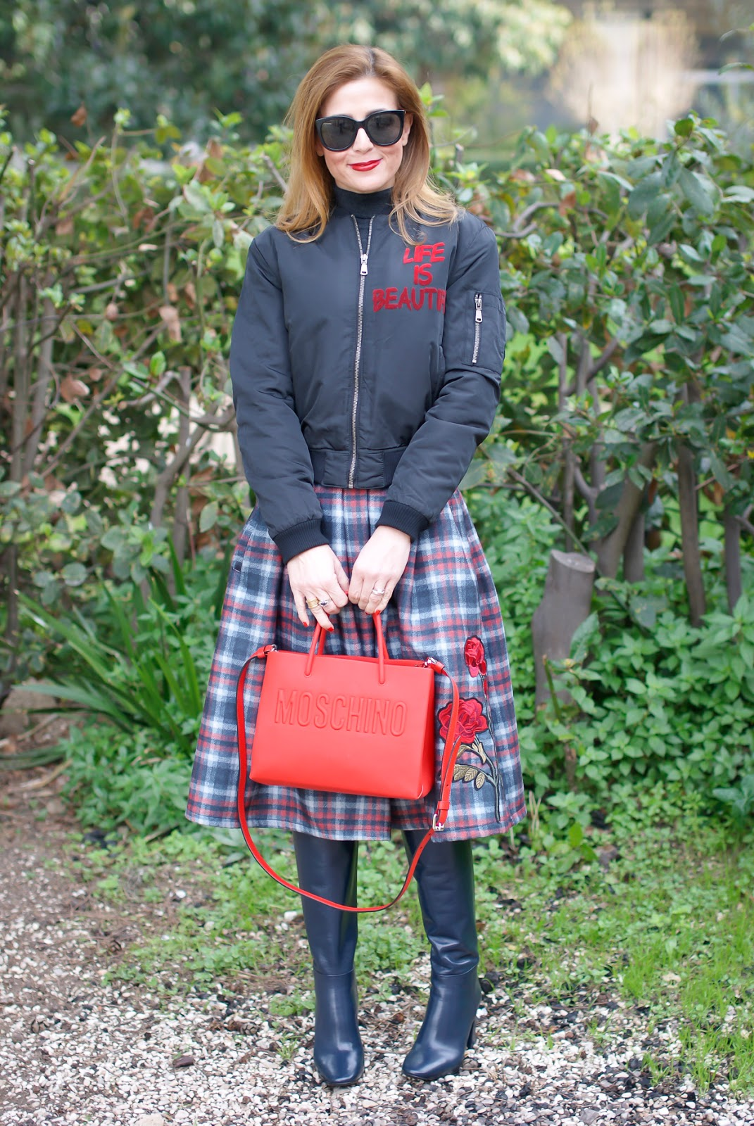 Checked embroidered skirt and bomber jacket, Moschino bag on Fashion and Cookies fashion blog, fashion blogger style