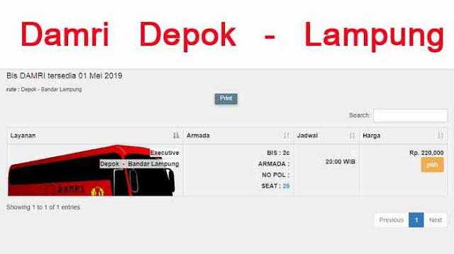 Beli Tiket Damri Depok Lampung