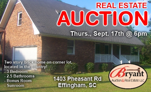 Real Estate Auction Thursday, September 17th at 6pm - Bryant Auction & Real Estate LLC