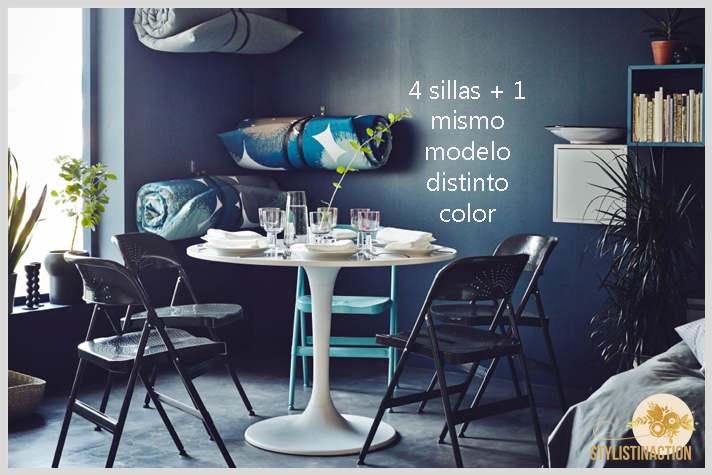 sillas de autor - cual es la indicada para cada casa - cinco sillas mismo modelo 1 de distinto color by IKEA
