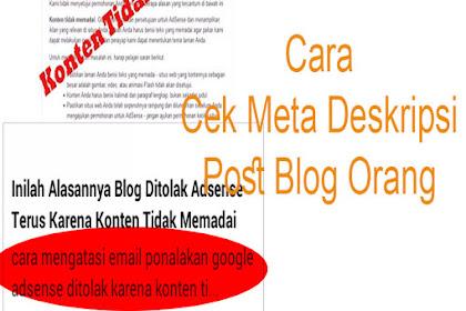 Tips Cara Cek Meta Tag Deskripsi Postingan Blog orang dengan mudah di Hp
