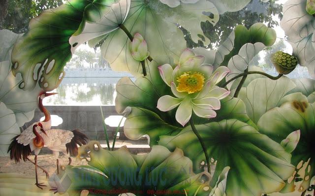 Tranh kính hoa - Không gian sống thêm tươi mới