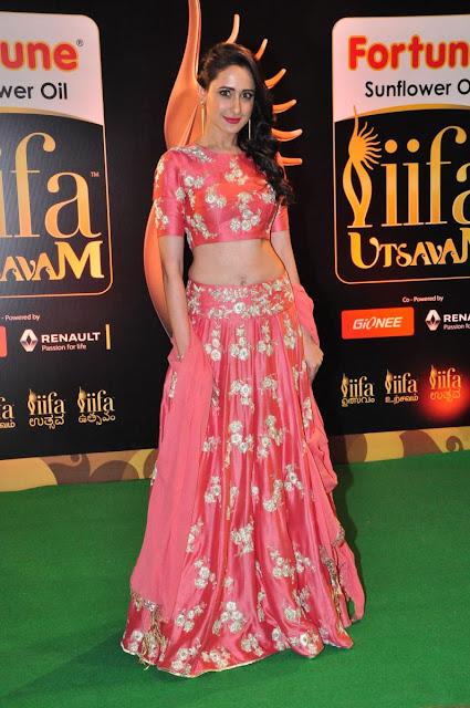 Pragya Jaiswal at IIFA Utsavam Awards Wearing Payal Singhal Bridal Peach Lehenga Choli