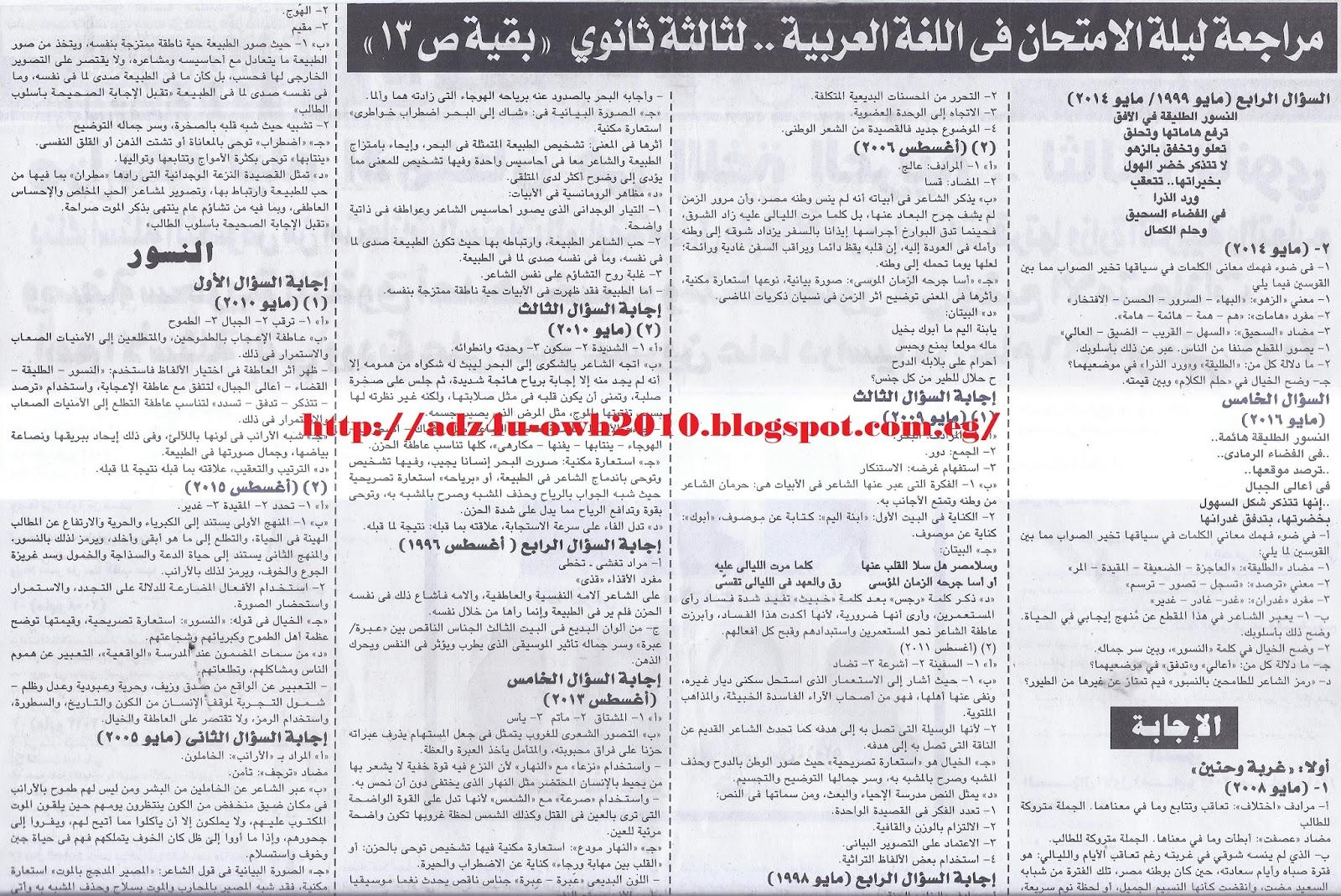 مراجعة وتوقعات ملحق الجمهورية الاخيرة في اللغة العربية للثانوية العامة 10