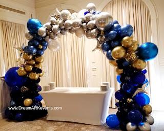 Gold, Royal blue & gold confetti organic balloon arch