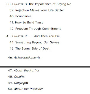 بعض محتويات كتاب فن اللامبالاة النسخة الإنجليزية