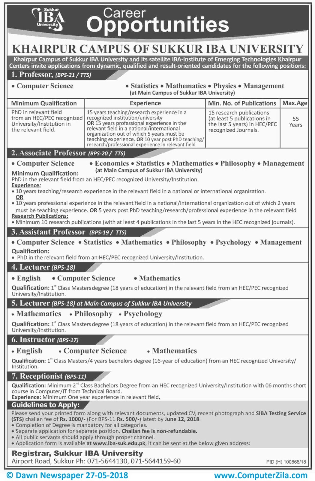 Career Oppurtunities at Sukkur IBA University