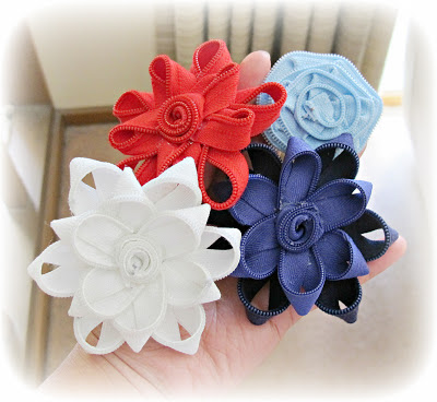 image zipper flowers red white pastel blue navy purple hairbands accessories