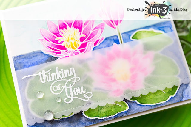 Thinking of You Card - Ink On 3's Waterlily Stamp Set by ilovedoingallthingscrafty