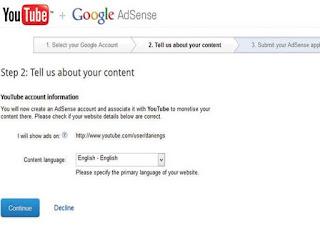 create or signup adsense