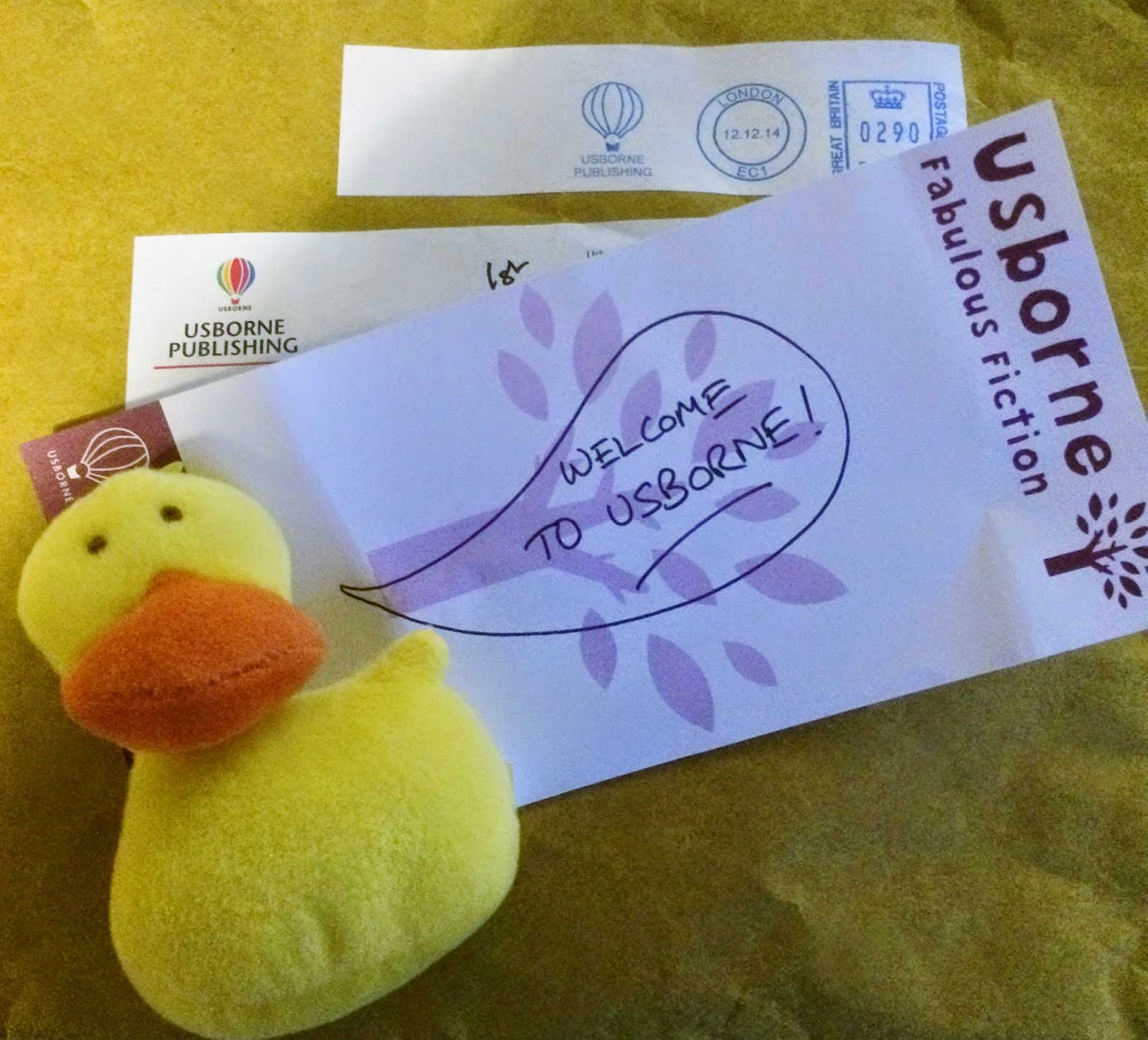 Usborne duck and Welcome Letter