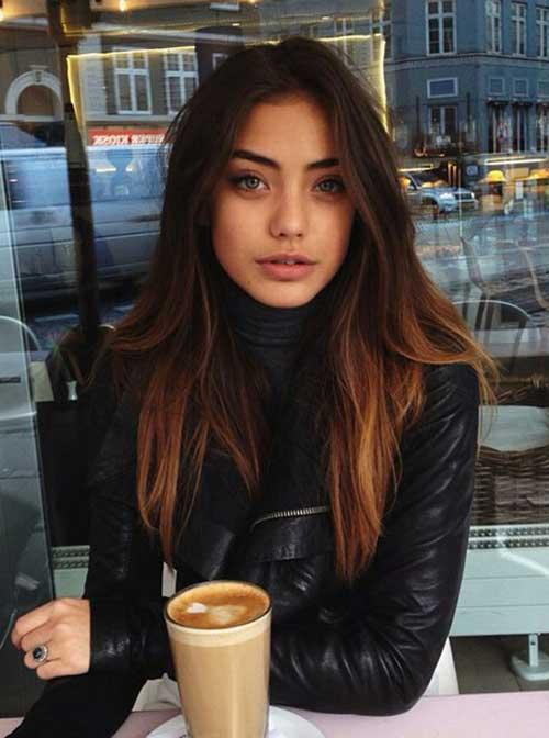 Long Dark Hair Color Idea - Iced Coffe