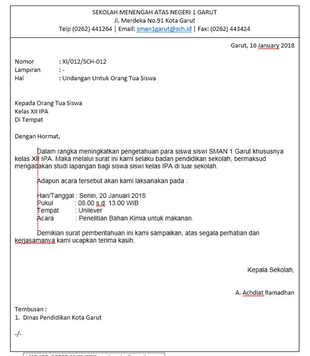 Bentuk Bentuk Surat Dan Contohnya Administrasi Perkantoran
