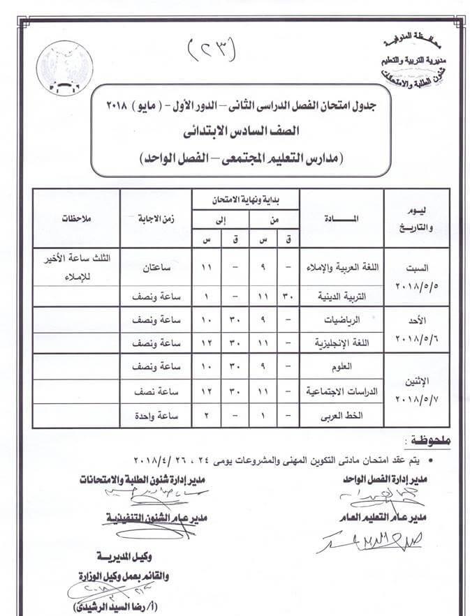 جدول امتحانات الصف السادس الابتدائي 2018 الترم الثاني محافظة المنوفية