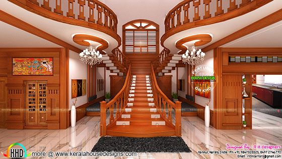 bifurcated stair  front door  living and bedroom