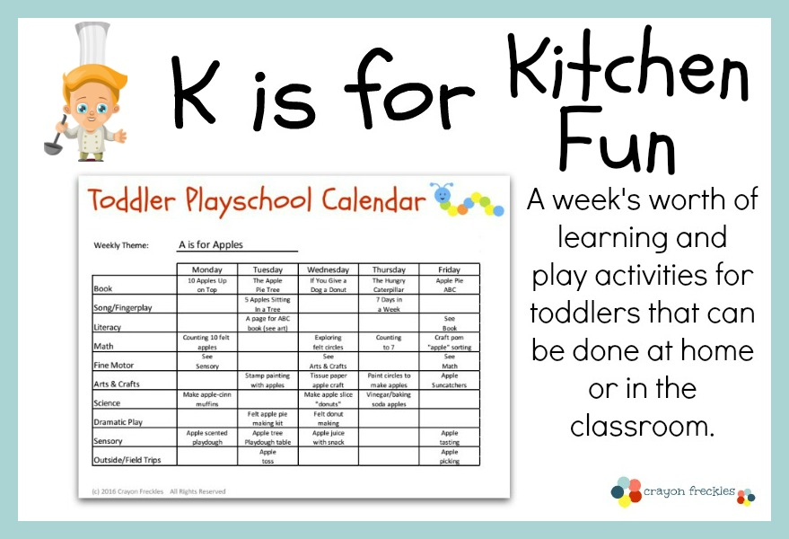 Crayon freckles toddler playschool k is for kitchen fun lesson plan free printable Kitchen design lesson plans