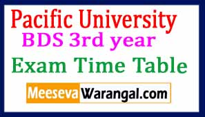 Pacific University BDS 3rd year Exam Time Table May 2017