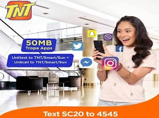 TNT SC20 or Super Combo 20 – 2 days Unli Call and Text for only P20