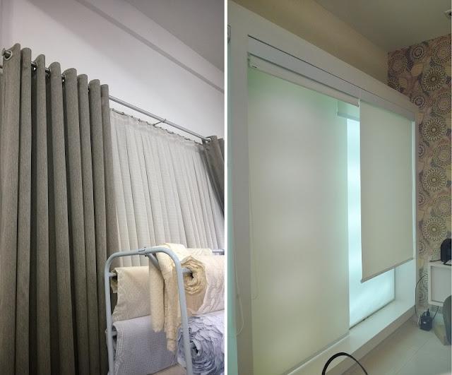 À esquerda, cortina de ilhós no varão duplo de metal e à direita persiana rolô.