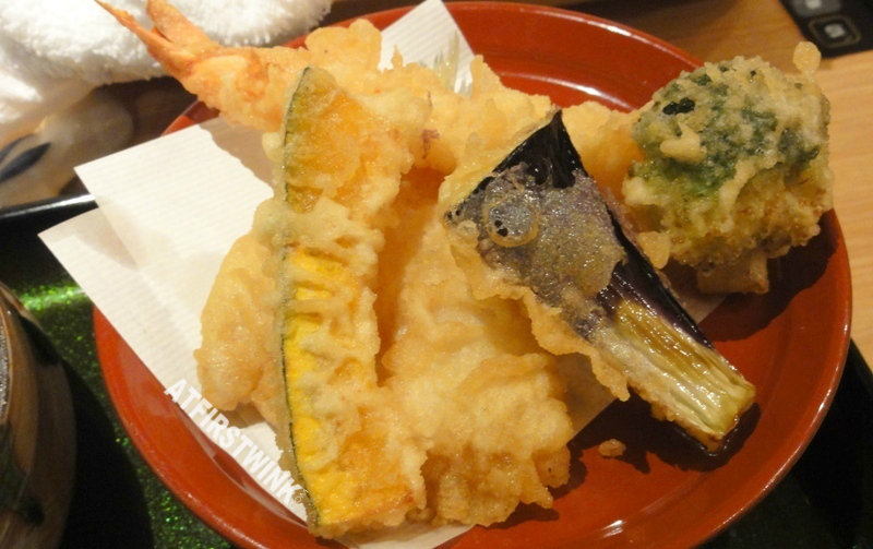 tempura shrimp egg plant fish broccoli Mimiu (美々卯) Shinsaibashi