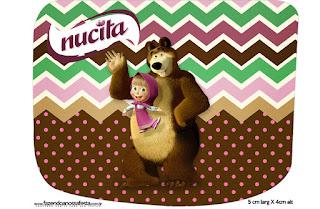 Etiqueta Nucita de Masha y el Oso para imprimir gratis.