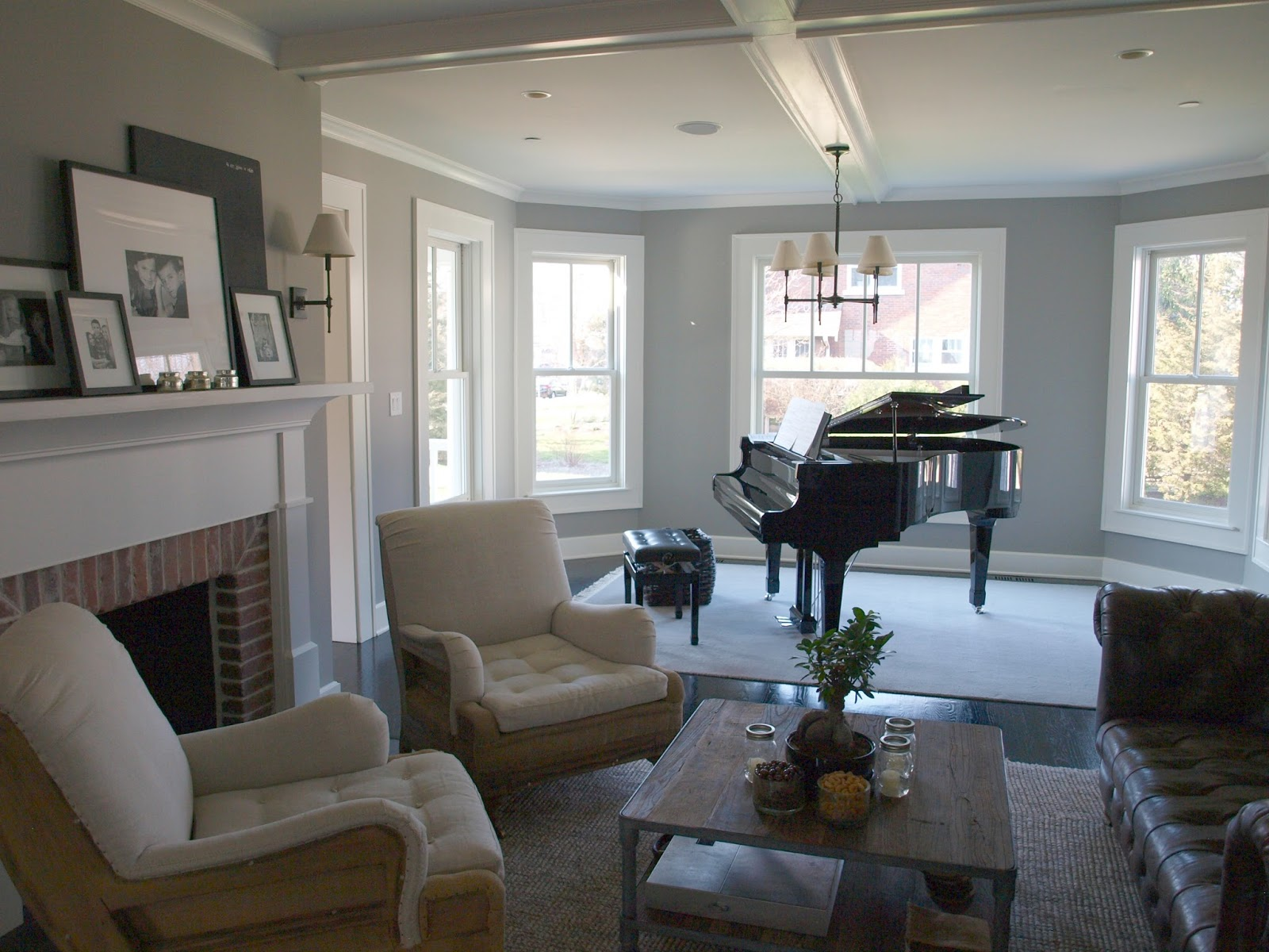 Beautiful modern farmhouse living room with black grand piano - by Hello Lovely Studio