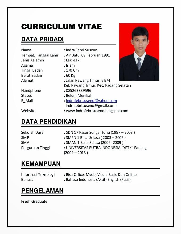 contoh contoh curriculum vitae bahasa indonesia