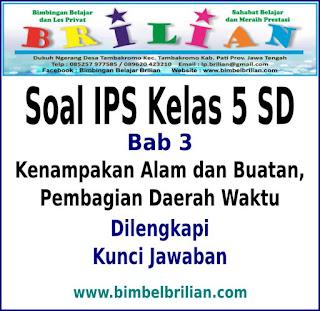 Download Soal IPS Kelas 5 SD Bab 3 Kenampakan Alam dan Buatan Serta Pembagian Daerah Waktu Dan Kunci Jawaban