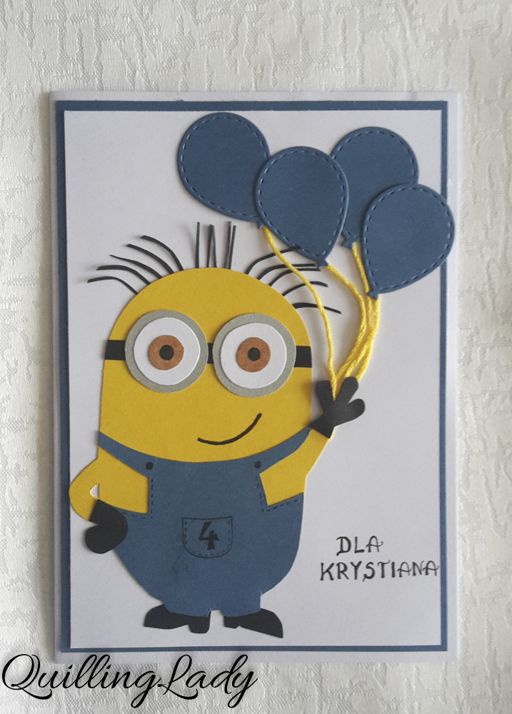 Quilling Lady Minion Birthday Card