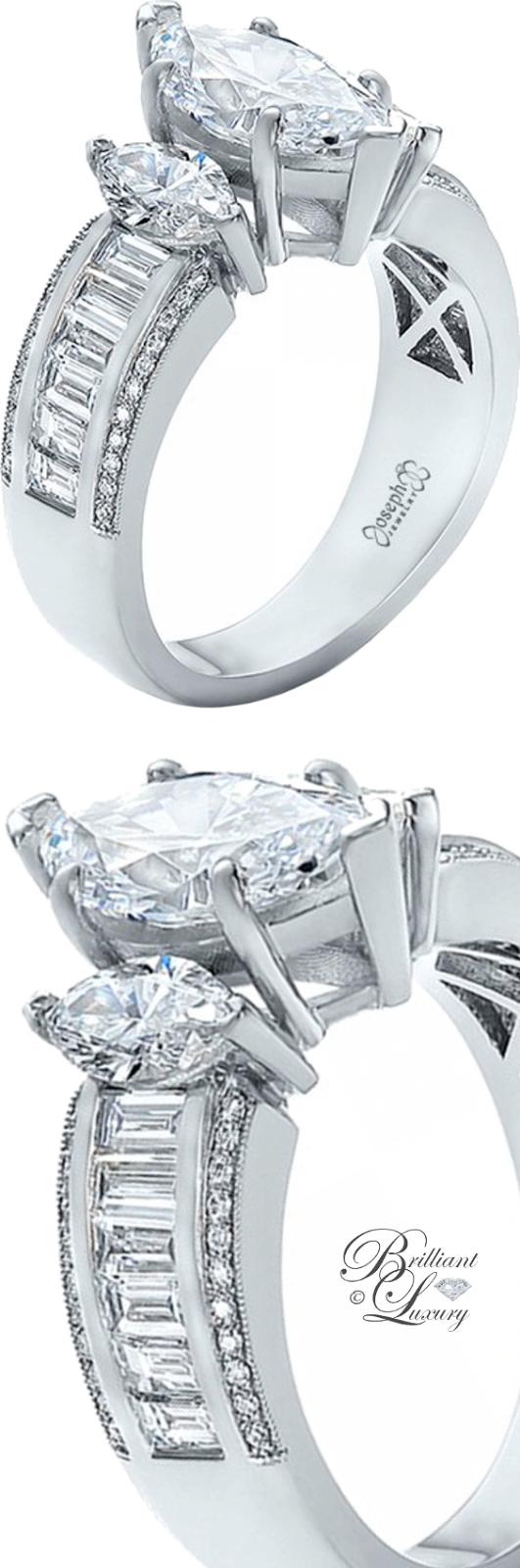 Brilliant Luxury ♦ Custom Three Stone Marquise & Baguette Diamond Engagement Ring