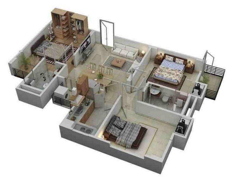 denah rumah 9x12 3 kamar tidur 3