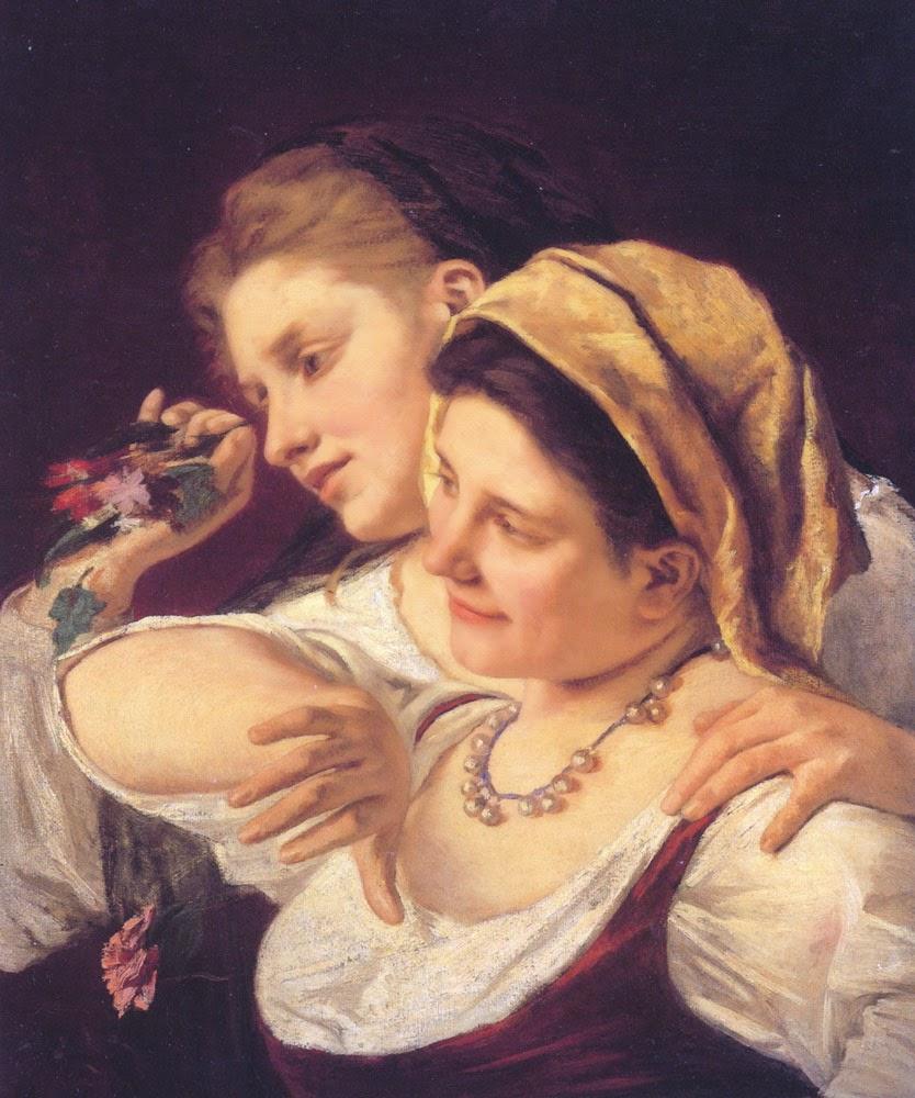 Duas Mulheres Jogando Flores Durante o Carnaval - Pinturas de Mary Cassatt | Mulheres na pintura