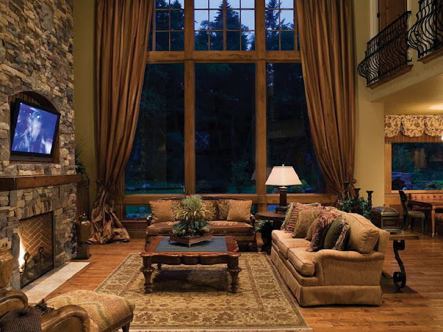 Luxurious Mountain Home with Rustic Interior Luxurious Mountain Home with Rustic Interior Rustic Mountain Home Interiors with fire place wall stone