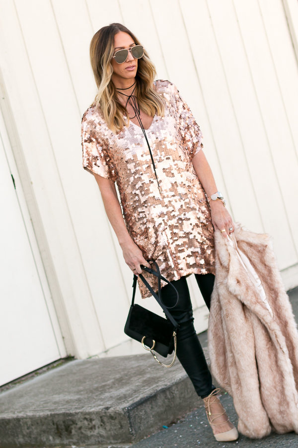 blush and copper sequin dress