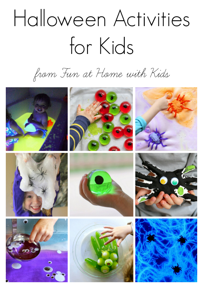 Over 20 easy ways to celebrate Halloween with your little ones:  sensory, slimes, glowing, and more!  From Fun at Home with Kids