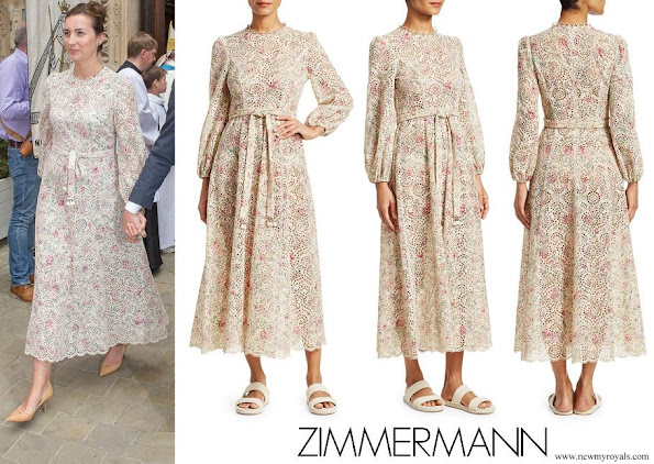 Princess Claire ZIMMERMANN Honour Floral Highneck Cotton Cream Dress