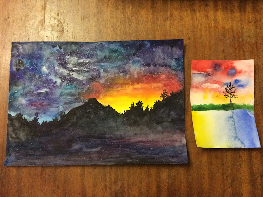 Painting - Part 8. Watercolor: Mountains at Night