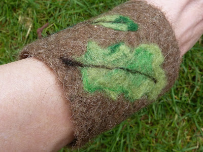 Apulina Felted Wool Lace Up Tie Bracelet Cuff With Leaf