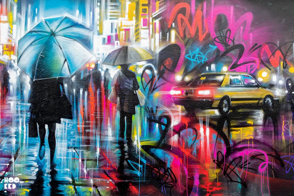 Dan Kitchener Street Art in Brick Lane, Night time Rain Umbrella